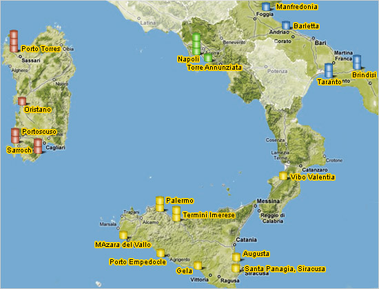 Cartina Sud Italia E Isole.Assocostieri Associazione Nazionale Depositi Costieri Olii Minerali